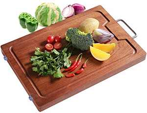 """Wood Cutting Board for Kitchen, Reversible Hard Wood Chopping Board with Juice Grooves for Meat, Vegetables, Durable Large Cutting Boards, Easy to Clean(17""""(W/handle))"""