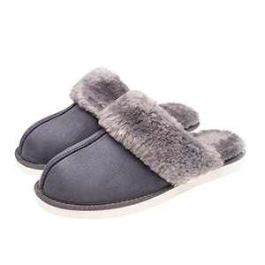 Tailansky Women's Slippers Comfortable, Artificial Fur Flat Bottom Shoes and Memory Foam Sole Leather, Non Slip and Breathable, Keep Warm in Winter Indoor and Outdoor Grey