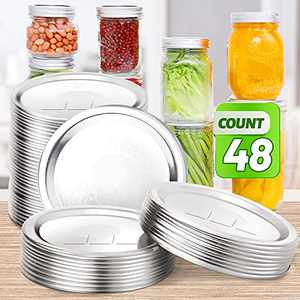 48 PCS Regular Mouth Canning Lids,VEHHE 70MM Mason Jar Canning Lids,Stainless Steel Canning Jar Lids for Mason Ball Kerr Jars,Leak Proof Split-Type Lids with Silicone Seals Rings (Silver)