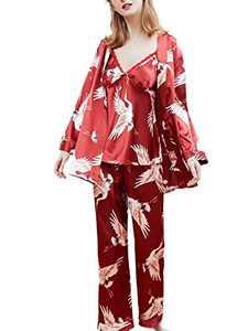 Homeyshoppe Women Satin Pajamas with Robe 3 Pcs Cami Top and Pants Robe Set Floral Print Silk Lace Sleepwear Nightwear Red