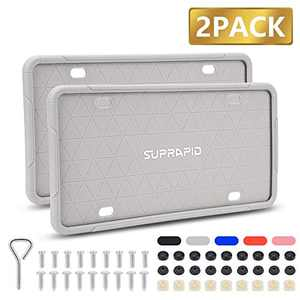 SUPRAPID Silicone License Plate Frame with Mounting Accessories, 2 Pack Universal Car Plate Holders Covers, Rust-Proof, Rattle-Proof, Weather-Proof, Crack-Proof, High Temperature Resistance (Gray)