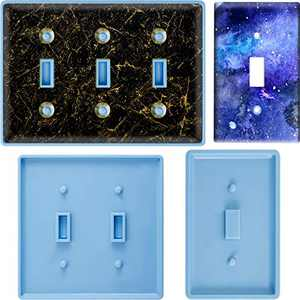 3 Pieces Switch Cover Resin Mold Switch Socket Panel Silicone Mold Wall Plate Epoxy Casting Mold Light Switch Cover Mold with Single Hole, 2 Holes, 3 Holes for DIY Socket Switch Cover Home Decor
