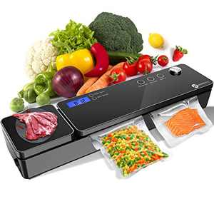 Slopehill Vacuum Sealer Machine,Automatic Vacuum Air Sealing System with Kitchen Scale(Not Include Battery)/LCD Display/Compact Design, Food Vacuum Sealer for Dry & Moist Food with 10 Pack Vacuum Sealer Bags(Black)