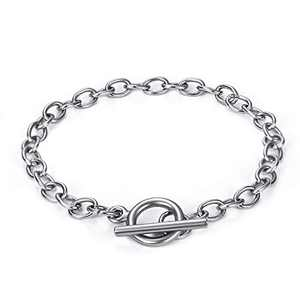YAKAMOZ 10 Pcs Chain Bracelet for Jewelry Making with OT Toggle Clasp Stainless Steel Bracelet Link Chains for Women Girls Birthday Christmas Gift