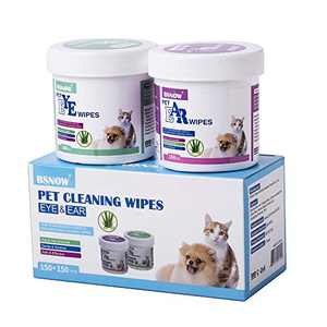 N/J 130+130 Cotton Pads Pet Ear and Eye Pet Wipes for Dogs and Cats,Non-Toxic, All-Natural Grooming Wipes, Puppy Dog Wipes Eye Tear Stain Remover Wipes,Unscented Gentle Cat Ear Wipe (Pet Wipes Set)
