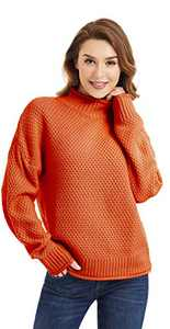 Lactic Womens Turtleneck Knit Oversized Sweaters Long Sleeve Pullover Loose Chunky Sweaters Jumper Outerwear, 100% Acrylic Brick Red