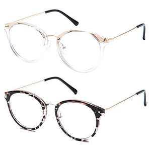 Frolesant Blue Light Glasses for Women, Retro Round Blue Light Blocking Glasses, Computer Reading Eyeglasses for Men - 2 Pack