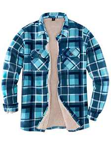 Womens Sherpa Fleece Lined Flannel Shirt Jacket Warm Button Up Plaid Shirt Jac (Sherpa Fleece Throughout) (Sky Blue, XX-Large)