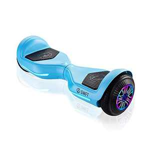 """RIDE SWFT Blaze Hoverboard Self Balancing Scooter, UL Certified, 27 Point Safety Check, Up to 3 Miles on a Single Charge, Front-Facing LED Lights, 6.5"""" Wheels, Sky Blue"""