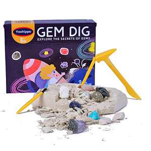 Yoohippo Gemstone Dig Kit, Dig Up Real Gems Mining Kit, Gem and Rock Discovery Kit, STEM Science & Educational Excavation Toys for Kids