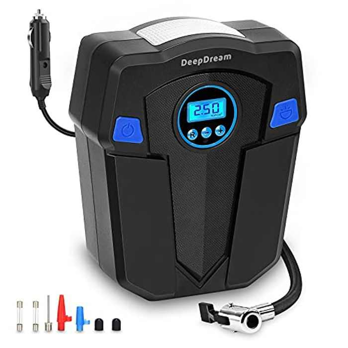 DeepDream Portable Digital Tyre Inflator 12V, 120W Electric Air Compressor Pump 150PSI Rapid Car Tyre Inflator Air Pump with 35L/Min Air Flow, LED Light LCD Screen for Car and Other Inflatables