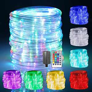 GreenClick 150 LED Rope Lights 49ft 17 Colors Changing Rope Lights Plug in Multi Color Twinkle Rope Tube Fairy Lights with Remote for Indoor Wedding Christmas Party Waterproof Outdoor Decorations