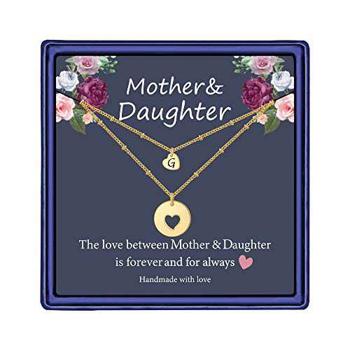 Iefil Mother Daughter Necklace for Mom, 14k Gold Filled Layered Necklace Heart Initial Necklace Gifts for Mom from Daughter Gifts for Mother's Day Christmas Thanking Giving Day G