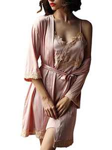 Homeyshoppe Women's 2 Piece Nightgown Set Satin Kimono Robe Pajama Dress Suit with Floral Lace Silky Sleepwear Set Pink