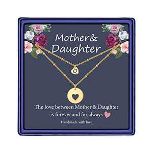 Iefil Mother Daughter Necklace for Mom, 14k Gold Filled Layered Necklace Heart Initial Necklace Gifts for Mom from Daughter Gifts for Mother's Day Christmas Thanking Giving Day Q
