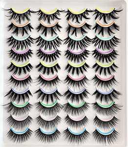 Faux Mink Eyelashes15-20mm,Dramatic Lightweight 3D Mink Eyelashes,Natural Eyelashes 20 Pack Bulk