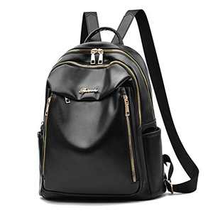 Fashion Backpack Purse for Women Soft Vegan Leather with 13 Pockets - Black
