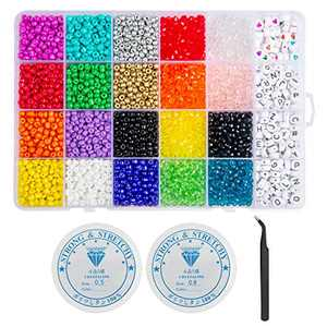 Beads for Jewelry Making Kit,Glass Seed Beads and Letter Alphabet Beads Kit,5000pcs 4mm Small Craft Beads with Bracelets String and Tweezers,Beads for Bracelets Making Kit for Girls and Adults