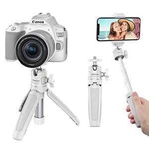 ULANZI Extendable Vlogging Tripod, Lightweight Mini Tripod with Ballhead, Portable 2 in 1 Handle Grip Tabletop Tripod for Camera, Smartphone, Webcam, DJI Osmo, Ring Light, Video Light (MT-08 White)
