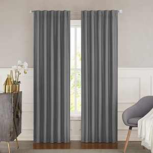 """WEST LAKE Gray 100% Blackout Faux Silk Window Curtain Backtab Rod Pocket for Bedroom Living Room Window Treatment Thermal Insulated Drapes Backtab 84 inches, 42""""x63"""", 1 Panel, Grey"""