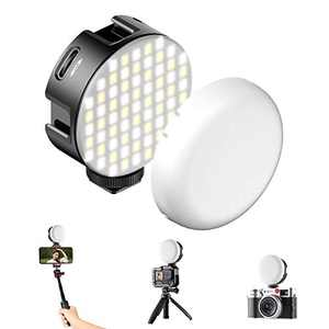 VIJIM Round Vlogging Light w 3 Cold Shoe, CRI95+ 2500K-6500K Bi-Color Led Video Light, 2000mAh Rechargeable Soft Fill Light for Gopro, Smartphone, Sony/Canon/Nikon Camera, DJI OSMO Pocket (VL69 Black)