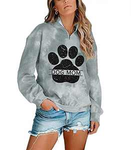Dog Mom Tie-dye Sweatshirts Women Funny Dog Paw Graphic Shirts Casual Pullover Long Sleeve Top Blouse (Gray, XL)