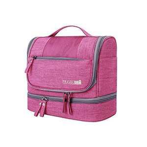 Hanging Travel Toiletry Bag Makeup Organizers Waterproof Cosmetic Bag Bathroom Shower Storage Bag Dop Kit for Men Women (Rose Red)