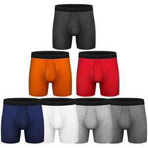 Mens Boxer Briefs, Cotton Underwear Comfy Breathable Tagless No Ride-up 6'' Regular Leg Sport Boxer Briefs with Fly Pack (C1:Cotton 5Pack (Fly), Small)