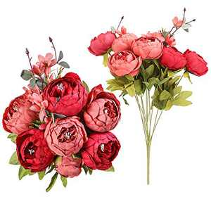 Floweroyal 2pcs Artificial Peony Vintage Silk Flowers Bridal Bouquets Home Wedding Party Office Garden Decoration (New Dark Red)