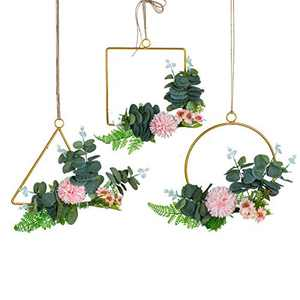 C&Z Floral Hoop Wreath with Artificial Hydrangea Flowers and Eucalyptus Leaves Set of 3 Hanging Gold Geometric Garland Wall Decor for Wedding Nursery Backdrop