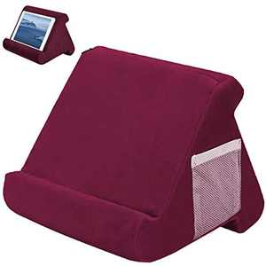 Tablet Phone Pillow Holder Multi-Angle Cushion Tablets Stand Pillow Holder Soft Pillow Lap Stand Book Rest Reading Support Cushion for eReaders, WOSNN Multi-Angle Soft Pillow used on Bed (Wine Red)