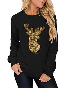 Margrine Womens Xmas Crewneck Long Sleeve Casual Sequin Reindeer Pullover Sweatshirts Tops Shirts 2MA80-SD004jin-heise-XL