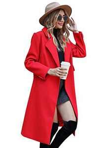 Wool Blend Belted Walking Coat Winter Coats for Women Dressy,Red,M