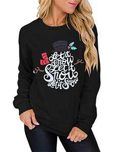 Margrine Christmas Sweatshirt for Women Christmas Snowman Slphabet Printing Pullover Casual Long Sleeve Funny Graphic Shirts 2MA80-SD0015-heise-XL