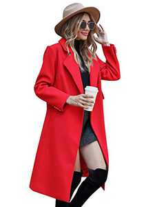 Plus Size Notch Lapel Pea Coat Belted Winter Coats for Women,Red,2XL