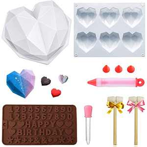 LaGalian Heart Chocolate Mold, Silicone Diamond Geometric Shaped Molds for Baking Non-Stick Number Dessert Mousse Mould Trays Pan With Wooden Hammer Liquit Dropper Cake Decorate Pen for Home Diy Tool