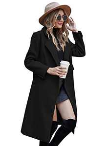 Women's Trench Overcoat for Winter Belted Long Jacket with Pockets,Black,L