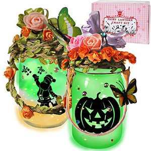 VOJUEAR Fairy Lantern Craft Kit for Kids,Night Light for Kids - Children Toy Set Kits,DIY Make Your Own Fairy Lantern Jar Arts Crafts Idea for Girls (2 Pack/Green)