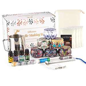 Mothers Day Gift Package, Soy Wax Candle Making Kit DIY, 6 Tins Candle Maker Supplies with Wicks Candle Wax for Adults and Kids Beginners