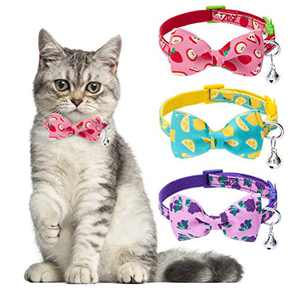SCENEREAL Cat Breakaway Collar with Bell - 3 Pack Adjustable Cat Collars with Removable Cute Cat Bow Tie, Safety Collars for Cats Kittens