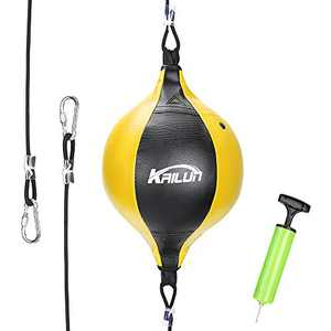 Intsun Speed Punch Bag Leather Speed Ball Hanging Boxing Punching Ball, Double End Ball with Boxing Reflex Ball and Pump for Gym MMA Boxing Sports Punch Bag Adult Kids Men Women (Yellow)