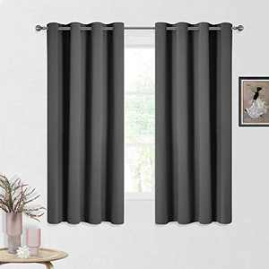 CUCRAF Blackout Curtains 63 inch Length,Room Darkening Thermal Insulated Grommet Curtains for Living Room/Bedroom,Set of 2 Panels,Dark Grey