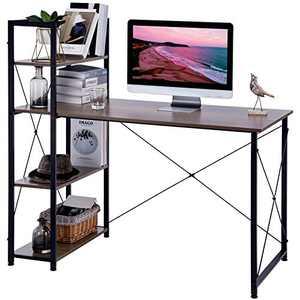 APICIZON Computer Desk with Shelves 47 Inch, Modern Home Office Desk with Adjustable Bookshelf Corner Desk for Study and Work, Brown