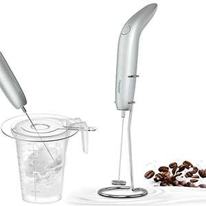 Milk Frother Handheld, Atemto Battery Operated Foam Maker with Splash Guard and Stainless Steel Stand Include, 2 Speeds Adjustable Drink Mixer for Coffee, latte, Cappuccino(Silver)