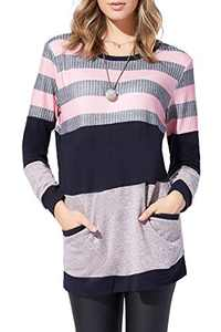 YANJUE Womens Sweatshirts Casual Tunic Tops Crewneck pullover Long Sleeve TShirts Pink Block with Pocket