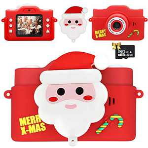 HAPTIME Kids Camera with Santa Claus Shell for Girls Boys Age 3-9, HD 1080P Video Selfie Digital Camcorder with 32GB SD Card for Kids Birthday Dream Gift (2.0 Inch IPS Screen)