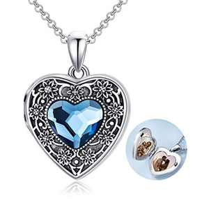 Heart Locket Necklace That Holds Pictures Sterling Silver Sunflower Lockets Jewellery for Women - Always in My Heart
