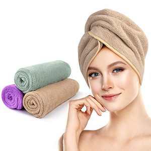 3 Pack Microfiber Hair Towel, Unimi Fast Drying Hair Towel, Super Absorbent Microfiber Towel Hair Wraps for Women, Hair Turbans for Wet Hair, Anti Frizz Hair Towel Wrap (Purple,Light Green, Camel)