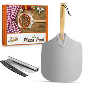 Aluminum Metal Pizza Peel, Pizza Spatula Paddle for Pizza Stone with Foldable Wood Handle Easy Storage Pizza Paddle for Baking Homemade Pizza Bread (pizza peel + cutter)