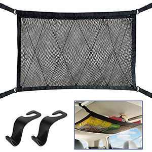 Car Ceiling Storage Net, WARMQ Adjustable Car Interior Roof Cargo Mesh Net with Seat Hook for Car SUV Van w 4 Roof Grabs, Black